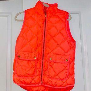 J. Crew Neon Orange Quilted Puffer Vest Size S